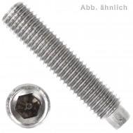 50 Gewindestifte M4  x  5 mm - DIN 915 - Zapfen - SW0,9 - Edelstahl A1-A2
