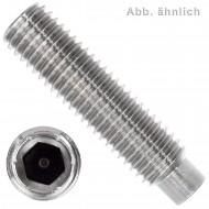 50 Gewindestifte M4  x  8mm - DIN 915 - Zapfen - SW2 - Edelstahl A4