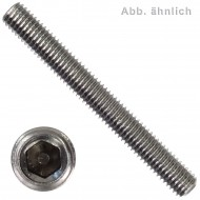 200 Gewindestifte M6 x 25 mm - ISO 4029 (DIN 916) - Ringschneide - SW3 - Edelstahl A1-A2