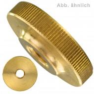 100 Rändelmuttern M3 - DIN 467 - niedrige Form - Messing