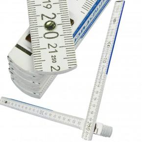 1 Adga Zollstock - 2m - Weiß - 10 Glieder , Typ 250, Aufdruck BefestigungsFuchs