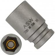 """1 ASW Steckschlüssel mit Magnet, Antrieb 1/4""""G 6,3,Länge 23 mm, SW 10"""