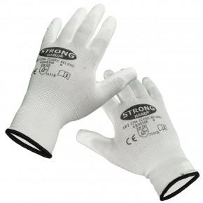 12 Paar Feinstrick - Schutzhandschuhe, teilbeschichtet, weiß, Gr. 09