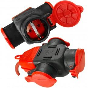 1 Verlängerungskabel,3-fach,Gummikabel Schuko, IP44, 10 m,  rot , H07RN-F 3G1,5