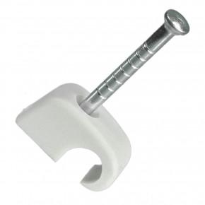 100 Stück Nagelschellen, Kabelschellen, 4-7 mm, PP, grau mit 25 mm Nägel