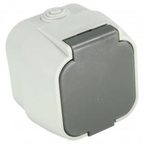 1 Aufputzsteckdose, Feuchtraum, IP 44, Grau, Klappdeckel