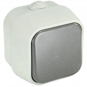 1 Aufputzwechselschalter, Feuchtraum, IP 44, Grau, Klappdeckel