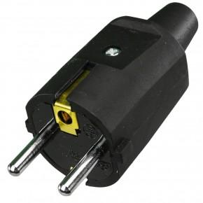 1 Schuko Stecker Gummi ISO-Einsatz  schwarz