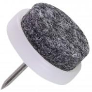 100 HSI Stuhlgleiter, Filz - Plastikplatte, eingeklebt - grau-weiß - 20mm