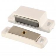 1 HSI Magnetschnapper - mit beweglicher Platte - weiß - Haftkraft 5kg