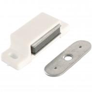 1 HSI Magnetschnäpper - mit fester Platte - weiß - Haftkraft 4kg