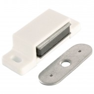 1 HSI Magnetschnäpper - mit fester Platte - weiß - Haftkraft 5kg
