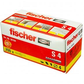 200 FISCHER Spreizdübel S 4x20 mm - Nylon - für Holz- und Spanplattenschrauben