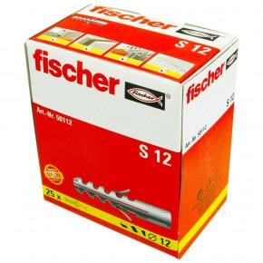 25 FISCHER Spreizdübel S 12x60 mm - Nylon - für Holz- und Spanplattenschrauben