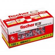 100 FISCHER DUOPOWER Nylon-Dübel - 5 x 25 mm