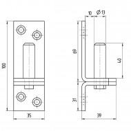 1 Kloben auf Platte 100x35 mm 13 mm Dorn - Edelstahl A2 - D1 eng