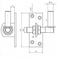 1 GAH Kloben verstellbar um 20 mm Edelstahl Dorn 16 mm 100x45 mm