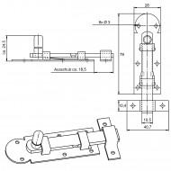 1 GAH Fensterriegel Edelstahl A2 gerade mit Schlaufe und Knopf 80x26x10,5 mm