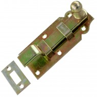1 GAH Türriegel 100x44x16 mm - gekröpft - mit Schließblech - gelb verzinkt