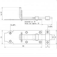 1 GAH Schlossriegel 120x44 mm - gerade Ausführung - gelb verzinkt