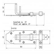 1 GAH Schlossriegel 100x45 mm - gerade Ausführung - Edelstahl