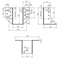 2 Balkenschuhe 60 x 100mm - feuerverzinkt - Typ A - Laschen außen - zugelassen
