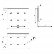 1 GAH Lochplattenwinkel 40 x 40 x 60 x 2 Edelstahl gleichschenklig