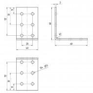 10 GAH Lochplattenwinkel 60 x 60 x 40 x 2 Edelstahl gleichschenklig