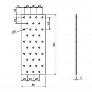 25 Standard Lochbleche feuerverzinkt 80x200x2,0 mm