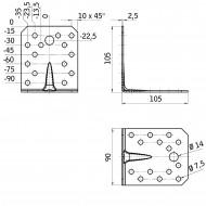 25 GAH Winkel  mit Rippe 105 x 105 x 90 x 2,5 Edelstahl gleichschenklig