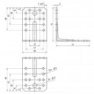 1 GAH Winkel  mit Rippe 90 x 90 x 65 x 2 Edelstahl gleichschenklig