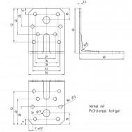 50  Winkelverbinder 70x70x55 , Dicke 2,5 mm, verzinkt, mit Steg / Rippe