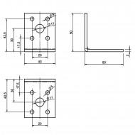 20  Winkelverbinder 50x50x40 , Dicke 3,0 mm, verzinkt, ohne Steg / Rippe