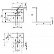 50  Winkelverbinder 70x70x55 , Dicke 2,5 mm, verzinkt, ohne Steg / Rippe