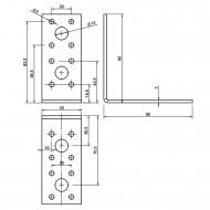 10 Winkelverbinder 90x90x40 , Dicke 3,0 mm, verzinkt, ohne Steg / Rippe