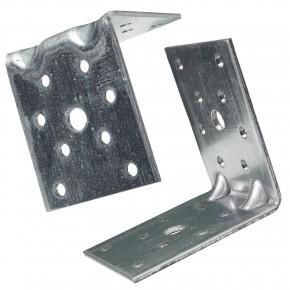 50  Winkelverbinder 70x70x55 , Dicke 2,5 mm, verzinkt, mit Doppelsteg / Rippe