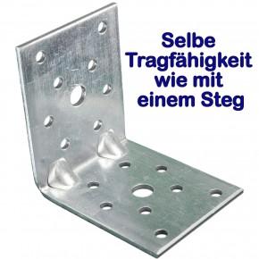 1  Winkelverbinder 70x70x55 , Dicke 2,5 mm, verzinkt, mit Doppelsteg / Rippe