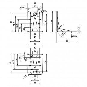 10 GAH Winkelverbinder 90x90x65 , Dicke 2,5 mm, verzinkt, mit Steg - Rippe