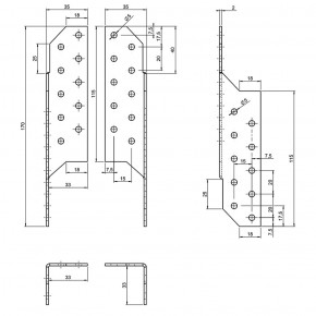 10 Paar Sparrenpfettenanker (Rechts / Links) - 170 mm - feuerverzinkt