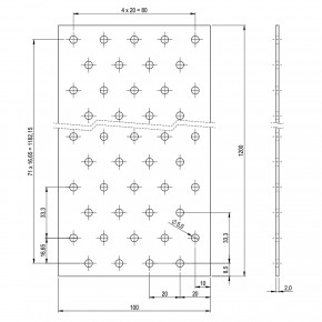1 Lochplattenstreifen feuerverzinkt 100x1200x2,0 mm