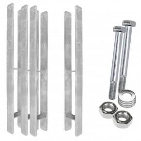 1 H-Pfostenträger, feuerverzinkt, extra lang, 6 mm / 800 mm für 90 mm Pfosten