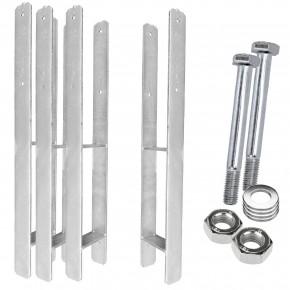 1 H-Pfostenträger, feuerverzinkt, extra lang, 6 mm / 800 mm für 120 mm Pfosten