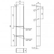 1 GAH H-Pfostenträger feuerverzinkt extrastark 8-800 mm für 140 mm Pfosten