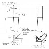 1 GAH Bodenhülse zum Einbetonieren - für 70mm Pfosten - 350mm Lang