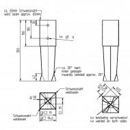 1 GAH Bodenhülse zum Einbetonieren - für 90mm Pfosten - 350mm Lang