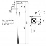 1 GAH Einschlagbodenhülse für 45mm Pfosten Tiefe 600mm