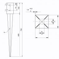 1 GAH Einschlagbodenhülse für 70mm Pfosten Tiefe 750mm