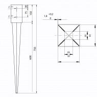 1 GAH Einschlagbodenhülse für 90mm Pfosten Tiefe 750mm