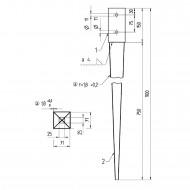 1 GAH Einschlagbodenhülse für 70mm Pfosten Tiefe 900mm