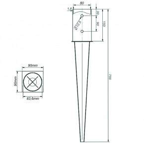 1 Einschlagbodenhülse, feuerverzinkt, für runde Pfosten mit 80 mm Ø, Länge 750 mm